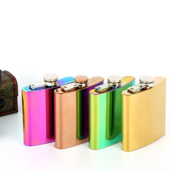 3 Cores 6 oz Garrafa Hip Flagon Jarra Rose Gold Rainbow Colorido Aço Inoxidável Copo De Vinho Uísque Garrafa De Água Óculos de Vinho CCA10571 20 pcs