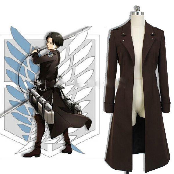 Attack on Titan/Shingeki no Kyojin Levi Ackerman Wind Coat Jacket Outwear Uniform Outfit Anime Cosplay Costumes