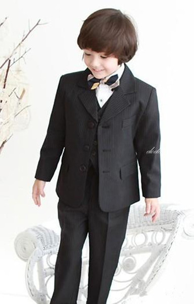 New High Quality Three Buttons Black Notch Lapel Boy's Formal Wear Occasion Kids Tuxedos Wedding Party Suits (Jacket+Pants+Vest+Tie) 627