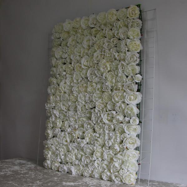 Acquista Muro Di Fiori Artificiali Bianco Avorio Peonia Bianca
