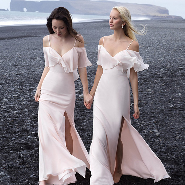 Spaghetti Strips Mermaid Long Bridesmaids Dresses Sexy Split Custom Online Honor Of Maid Chiffon Tailor Made Formal Prom Party Gowns 2019