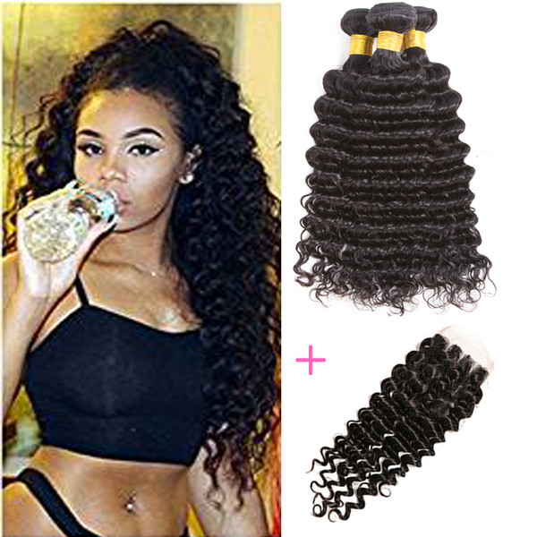 Chinese Virgin Hair Straight with 4x4 Lace Closure Grade 8A Chinese Body Wave Deep Curly 3pcs and Closure 100% Remy Human Hair Wefts
