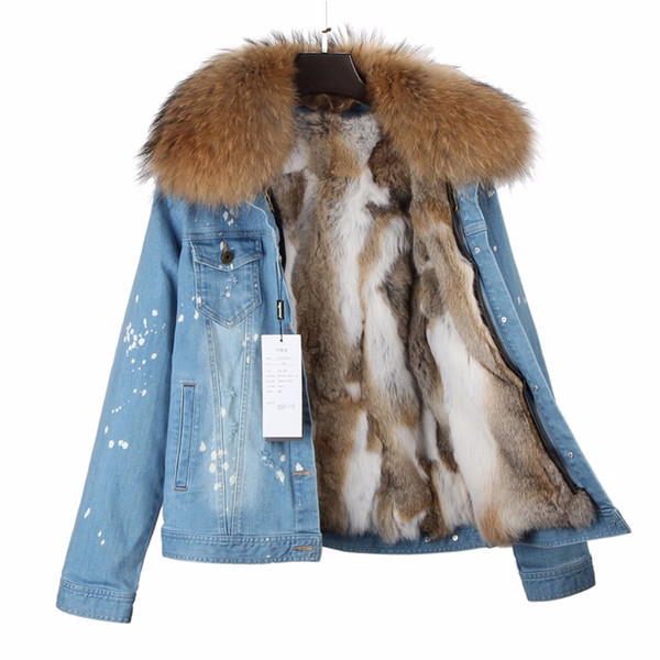 2018 New Winter Jacket Women Denim Coat Natural Real Rabbit Fur Liner Raccoon Fur Collar Hood Thick Warm Parkas Detachable Parka