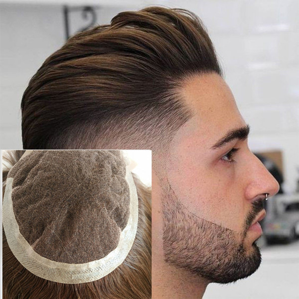 Swiss Lace Men Hair Replacement Systems Lace Front With Pu Natural Straight Remy Human Hair Men Hair Toupee