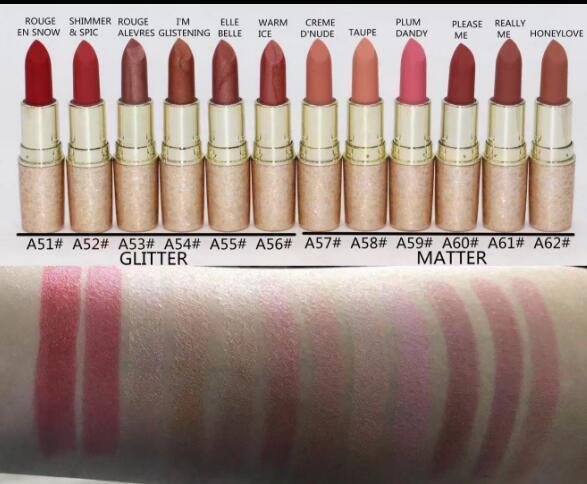 Free Shipping ! New arrive Hot Makeup Lips 3.5g GLITTER MATTER Lipstick!12 Different Colors (12pcs/lot)