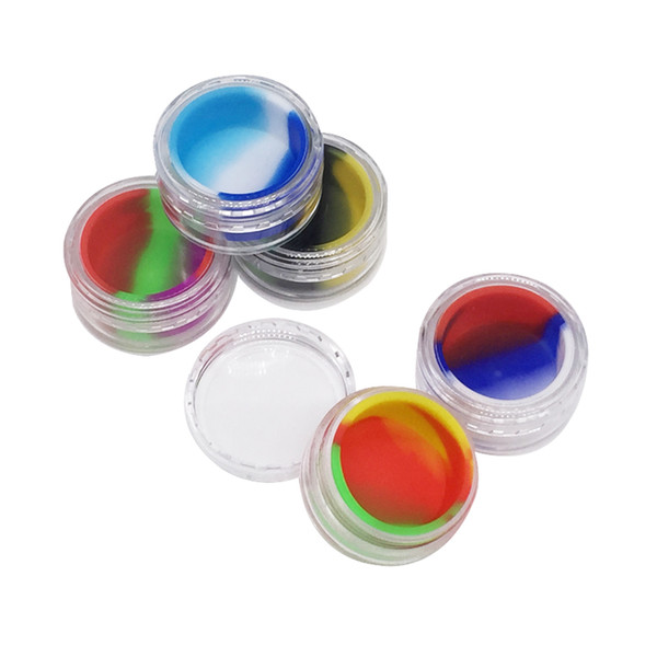 5 Pcs/lot Nonstick Silicone Dab Container Colorful 5 Ml Silicone With Crylic Shield Split Nonstick Container