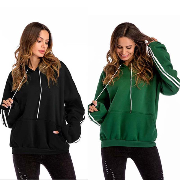 1PC Autumn Winter Solid Strip Red Black Green Pullover Thick Coat Loose Women Hoodies with Hood Sweatshirt