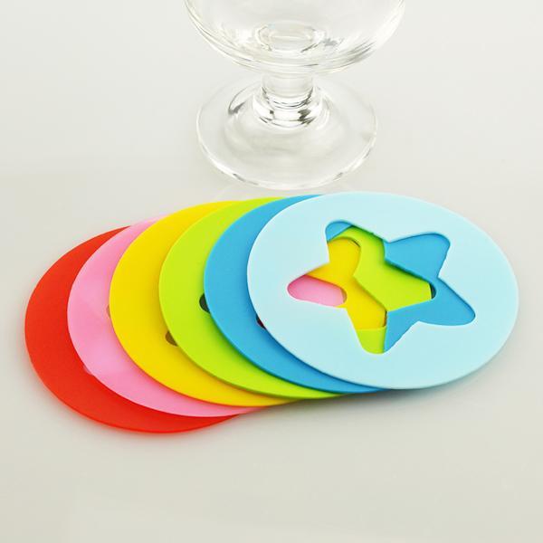 Set di 6 etichette di etichette in silicone per bicchieri di vino stella rotonda tondo in vetro Etichette in silicone per decorazioni per feste da bar di casa