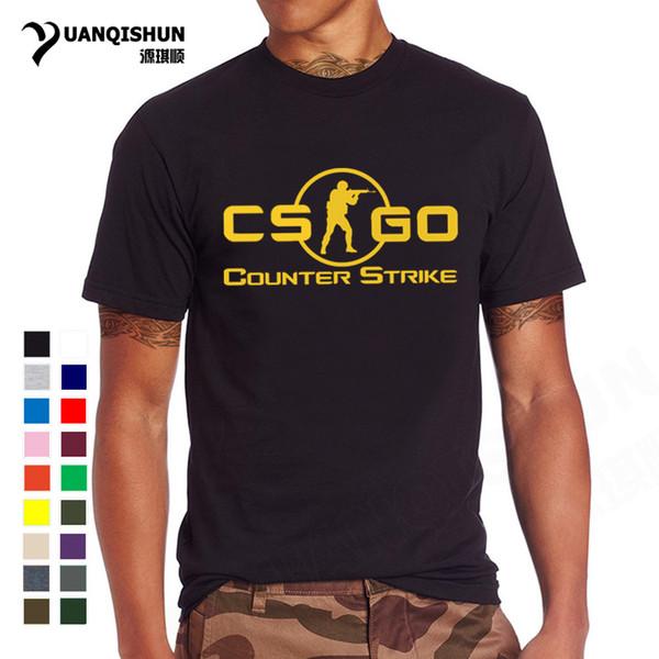 YUANQISHUN 2017 Yeni CS GITMEK Baskı T Gömlek Counter Strike Küresel Saldırgan CSGO Sıcak Oyunlar TShirt Ekibi Özel Erkekler Butik T-shirt
