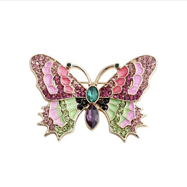 Gold Plated Alloy Bridal Bouquet Multicolor Crystal Butterfly Brooch High Quality Colors Enamelled Cute Insect Scarf Pin For Women