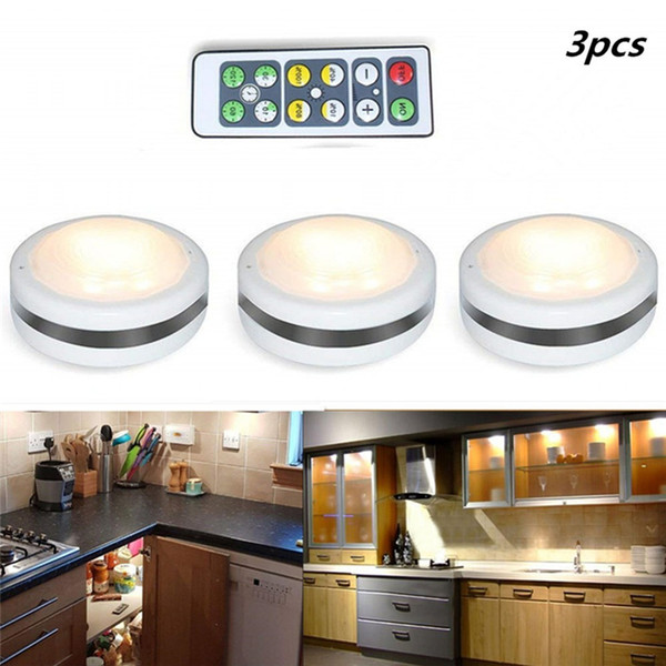 LED Night Light Remote Controlled Closet Lights Super Bright Under Cabinet Lamp Round Shape Battery Powered Dimmable led lights