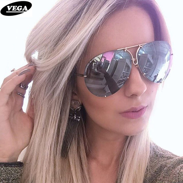 VEGA 2018 Big Sunglasses Women Ladies Large Aviation Sunglasses Female Oversized Glasses oversize sunglass women rimless VG06