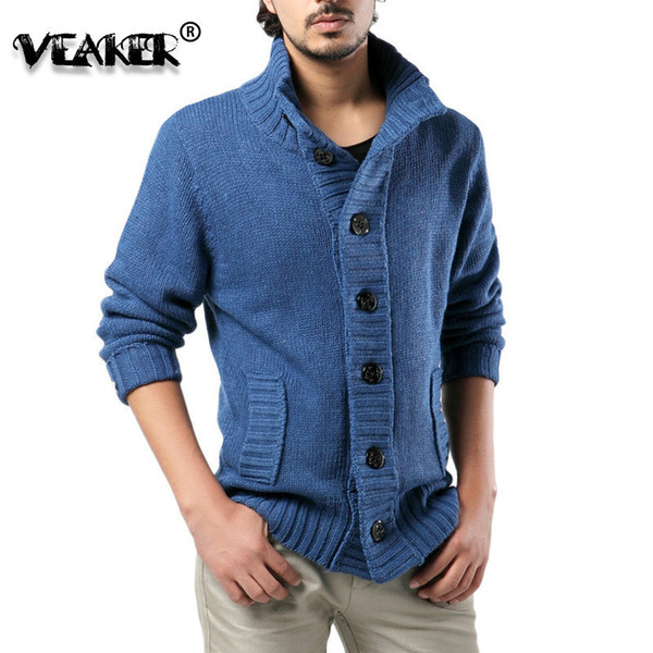 2018 Mens Thick Sweater Coat Slim Fit Winter Knitted jacket Male stand collar Casual Cardigan Sweaters Plus Size S-3XL