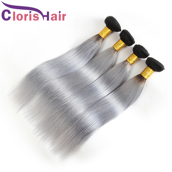 Dark Roots Silver Grey Brazilian Straight Hair Bundles Colored Two Tone 1B Gray Human Hair Weaves Brazillian Virgin Ombre Hair Extensions
