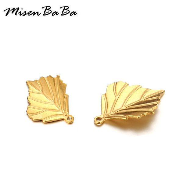 20PCS 17x13mm New Gold Silver Color Maple leaf Stainless Steel Charms For Jewelry DIY Making Leaf Pendant Necklaces Accessories