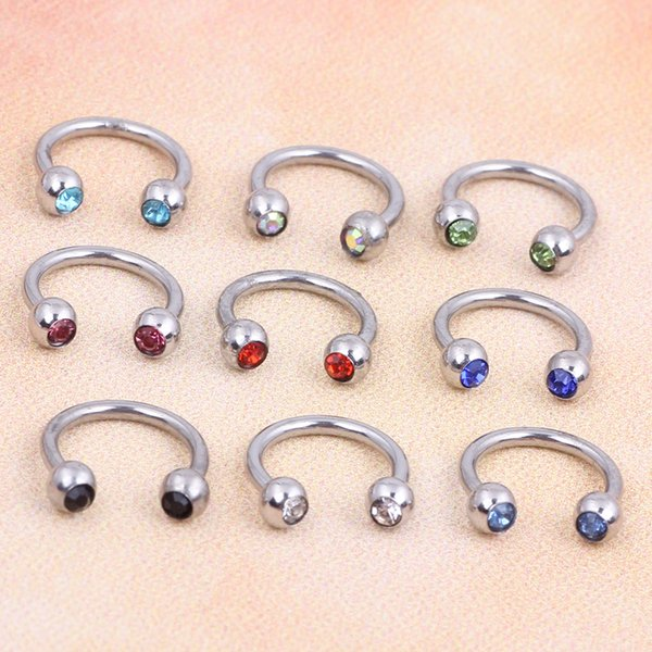 Crystal Surgical Steel Piercing Horseshoe Lip Bar Stud Nose Ear Nipple Ring Hoop Body jewelry Piercing nose