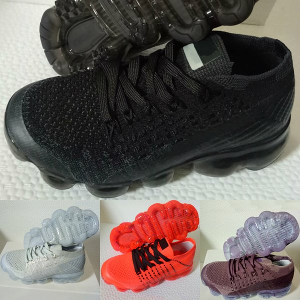 New 2018 Kids Shoes Zoom Air Running Shoes Children Athletic Shoes Baby Boy Girl Training Sneaker Black White Grey Orange