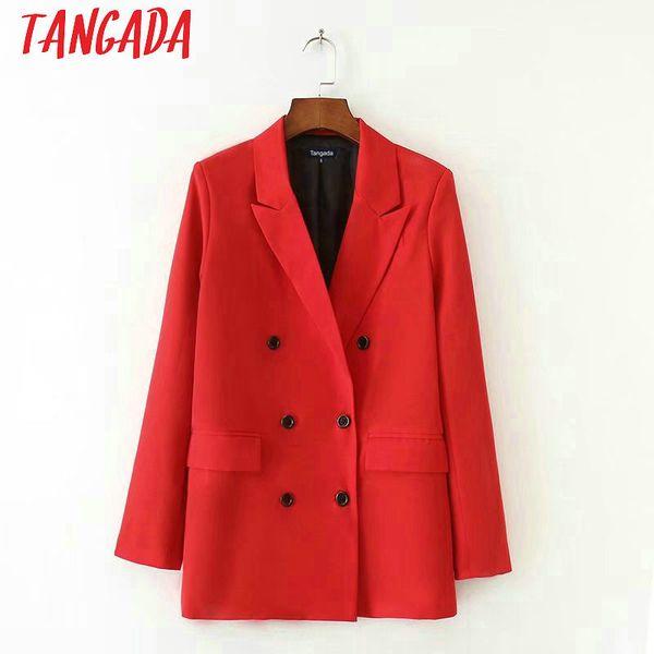 Chaqueta de traje rojo para mujer Blazer formal Bolsillo de doble botonadura Trabajo de oficina de trabajo de mujer Outwear