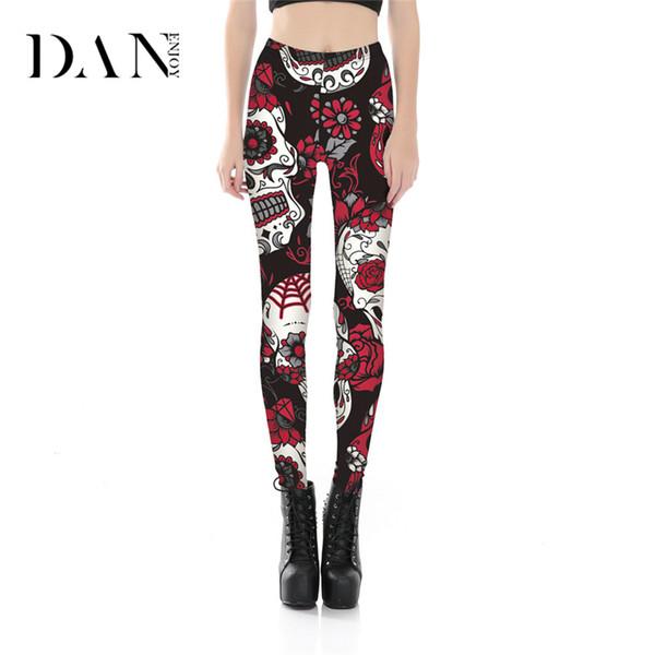 DANENJOY Skeleton Skull Halloween Leggings Yoga Pants High Waist Print Leggings Fitness Women Slim Printed Sports Tight Trousers