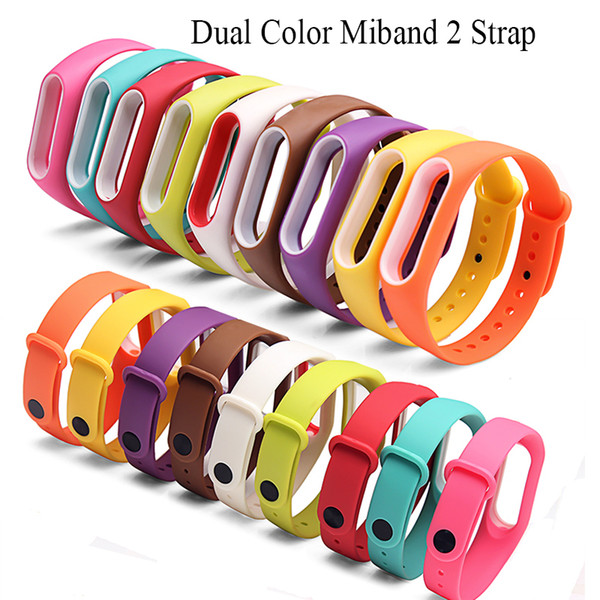 Dual Color Miband 2 strap Silicone healthy Pulsera Colorful Replacement wrist strap for xiaomi mi 2 smart band 16 colors