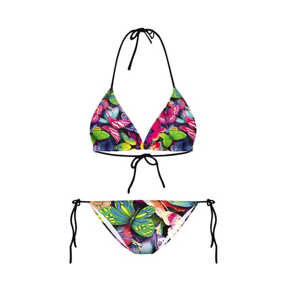 Nuovo disegno Sexy Girl Summer Colorful Butterfly 3D stampe perizoma Bikini Set costume da bagno Swimwear Costume da bagno da donna
