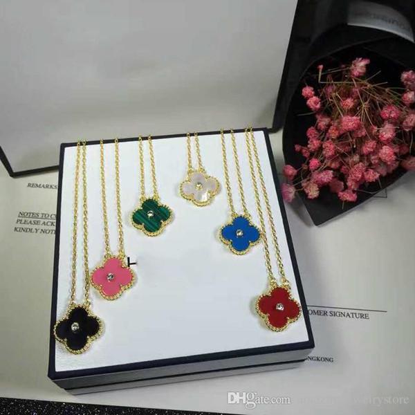 S925 стерлингового серебра ожерелье с цветком и бриллиантом для женщин свадьбы ожерелье в белый черный розовый зеленый синий цвет камня подарок