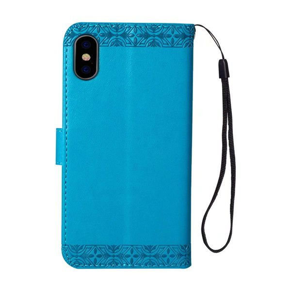 Aesthetic cellphone cover for iphone 7 phone cases Embossed sunflower PU kickstand case for Goophone X wallet case with hanging strap
