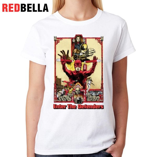 Женская футболка Redbella Женская одежда Харадзюку мультфильм символов дизайн американского народного искусства Poleras де mujer мода печати женщины футболка топ тройник