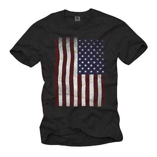 VINTAGE USA MEN SHIRT WITH UNITED STATES OF AMERICA FLAG - SHORT SLEEVE US TEEFunny free shipping Unisex Casual