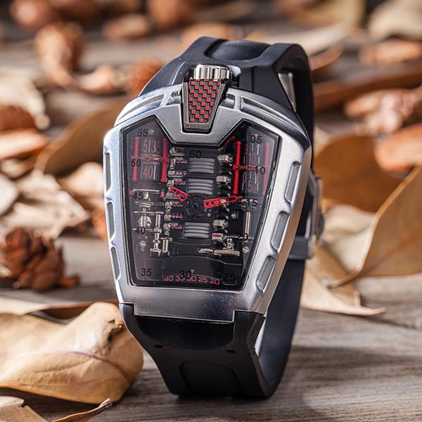Mens Fashion Große Gesichts-Schädel-Uhr mit Armband-Verbindungs-Band stilvolles kühles Edelstahl-freies Verschiffen