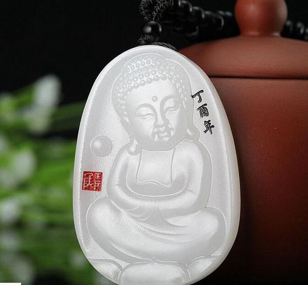 Natural Xinjiang Hetian jade white jade baby pendant Male and female Buddha come to Buddha pendant lotus boy Buddha