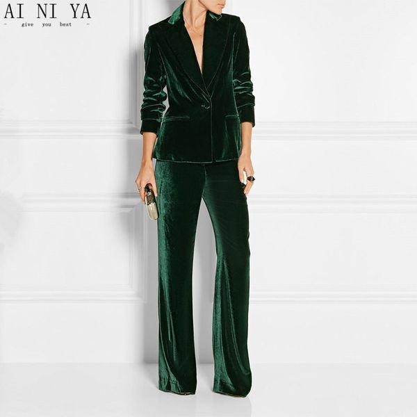 Nouveau Pantalon Élégant Costumes Femmes Slim Bureau Costumes D'affaires De Travail Formel 2 Pièces Ensembles Costumes De Pantalon De Velours Vert Foncé