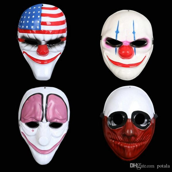 Topic Game Series Face Mask Halloween Xmas PVC Scary Clown Payday Party Mascara Carnaval Old Man Clown Flag Masquerade Cosplay
