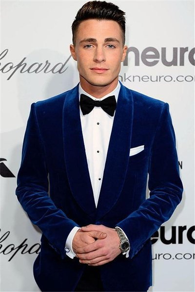 Custom Made Royal Blue Velvet Wedding Groom Tuxedos Two Piece Prom party Suit Shawl Lapel Cheap Mens Wedding Suits (Jacket+Pants+Tie)