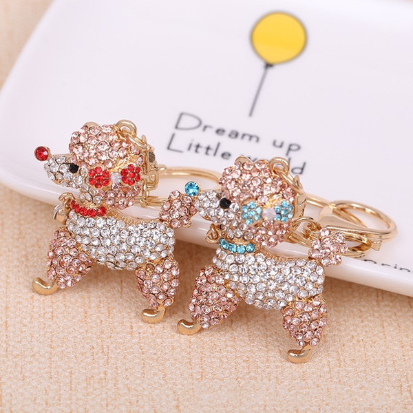 For Women Car Bag Pendant With Diamond Cute Dog Key Chain Fashion Metal Keys Ring High Quality 7 5xq BB
