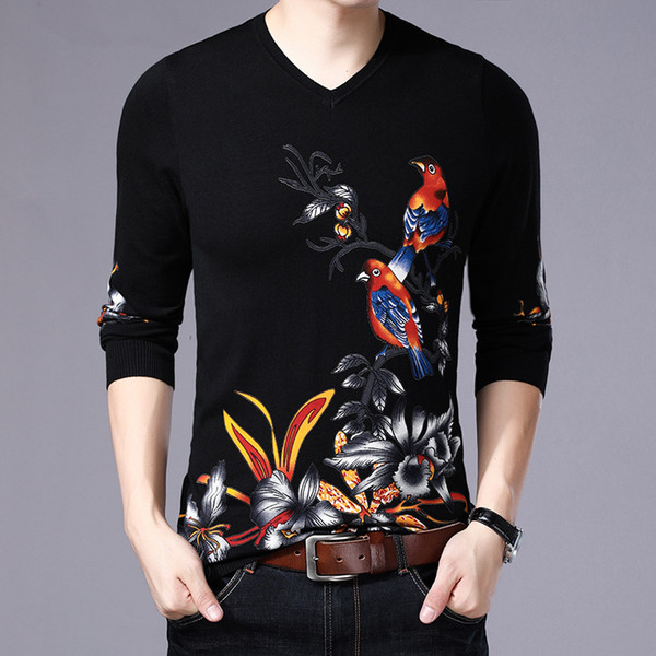 Chinese style 3D bird flower pattern fashion pullover knit sweater Autumn 2018 high-quality cotton soft comfortable sweater men