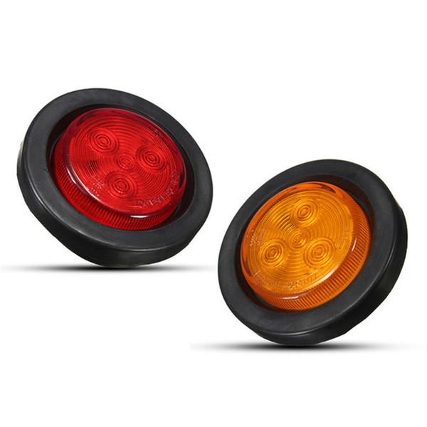 2 Pcs 4 LEDs Car Round Side Marker Light Trailer Truck Turning Signal Light Clearance Lamp 12V