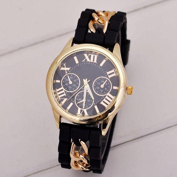Watch Women  Silicone Roman Band Analog Quartz Vogue Wrist Women's Watches Quartz Watch  #D