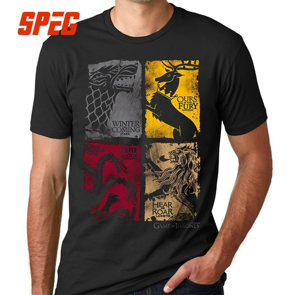 Game Of Thrones Vintage T-Shirts Männer T-Shirt TV-Serie Haus Stark Targaryen 100% Baumwolle T-Shirt Lannister Männer Familie Plus Größe 5XL