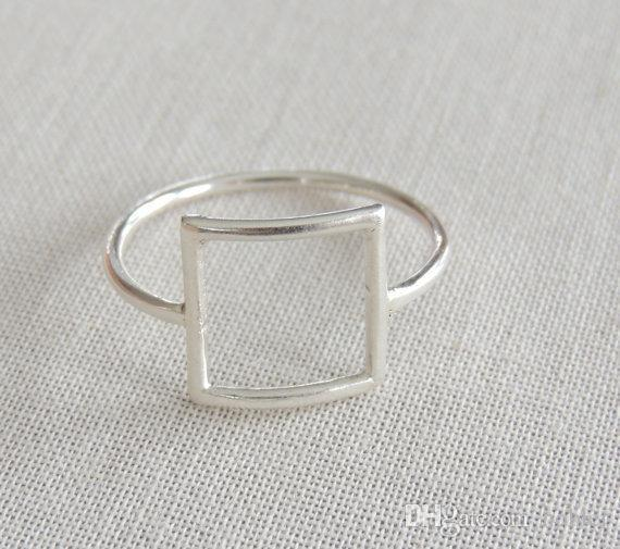 Wholesale Open Square Ring Dainty Minimalist Geometric Zinc Alloy Accessories Gold Silver Color Jewelry jl-206