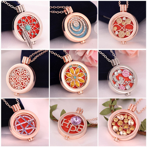 Living Memory Locket Fragrance Aromatherapy Essential Oil Diffuser Necklace For Women Party DIY Jewelry Gift
