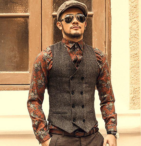 Mens Double Breasted Vest Men Dress Suit Vest Men Formal Grey Suit Gilet Vest Slim Business Jacket Tops homme spring