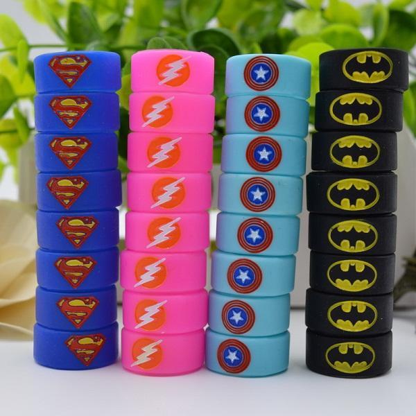 Silicone Vape Band Silicon Beauty Decorative Ring Engraved Superman Batman Captain America Flash Logo for Glass Tank Rda Atomizer Vape Mod