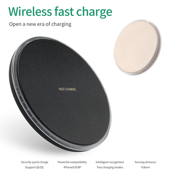 New K3 ultra thin wireless block filled QI circular launcher aluminum alloy wireless charger iphone8 fast charging 9V