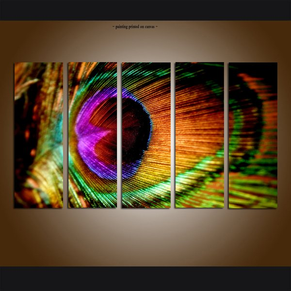 2019 Large Modern Contemporary Abstract Peacock Feather Painting Giclee Print On Canvas Art Wall Home Decor Picture For Living Room Decor From