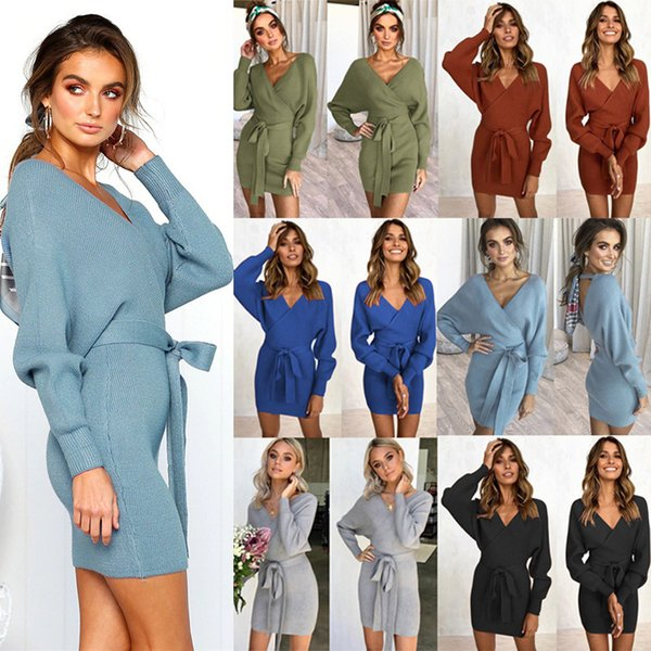 6 Colors Women Long Sleeve Dress Deep V Slim Fit Mini Bodycon Dresses Knit Sweaters S - XL