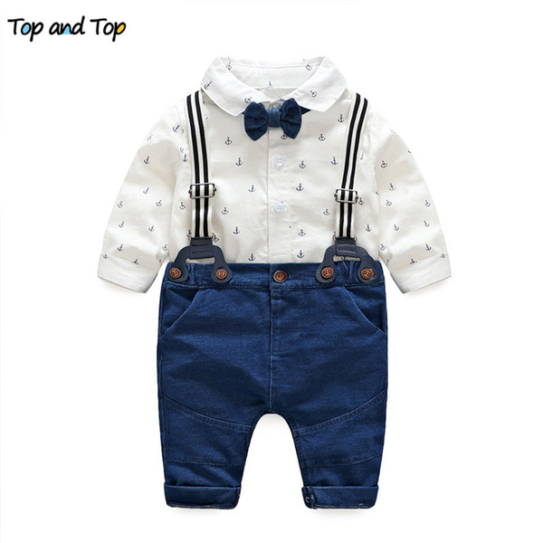 Top y Top primavera ropa de bebé conjunto de ropa de bebé otoño manga larga algodón corbata de lazo mamelucos + pantalones 2pcs conjunto de ropa de niño