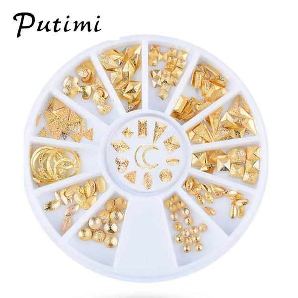 Putimi DIY Nail Art Decorations Charm Rhinestones Nail Accessories Manicure 3D Design Studs Rivet Gold Metal Glitter Beads