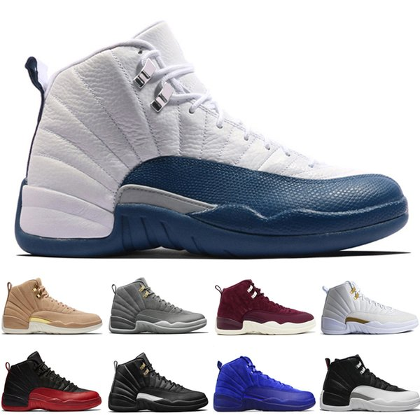 12 12s mens basketball shoes Wheat Dark Grey Bordeaux Flu Game The Master Taxi Playoffs Wool Barons Gym Red Royal Blue Suede Sports sneakers