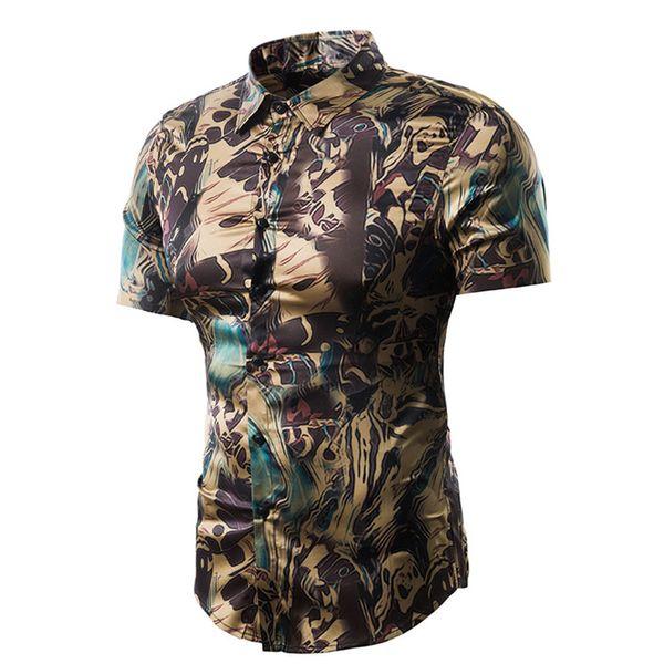 2e0d55526b8fb 2018 Summer New Men S Fashion Shirt Casual Abstract Scrawl Print Casual  Shirt Short Sleeve Male Big Size XL